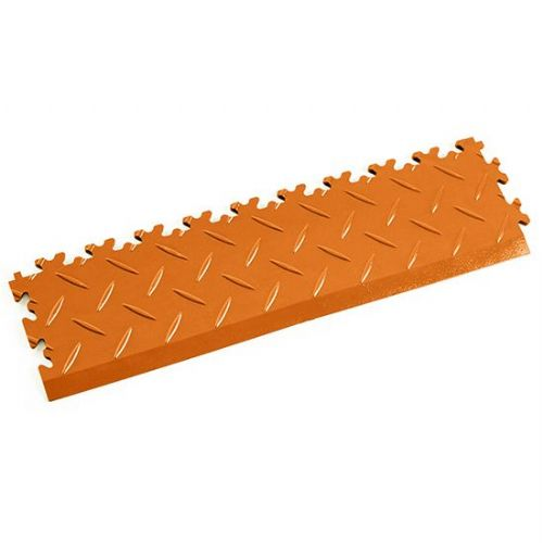MotoLock Interlocking Tile Edging (Orange Diamond-plate)